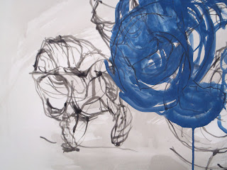 Broken shell in ink and blue pigment on paper