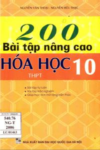 200 Bài Tập Nâng Cao Hóa Học 10 - Nguyễn Văn Thoại
