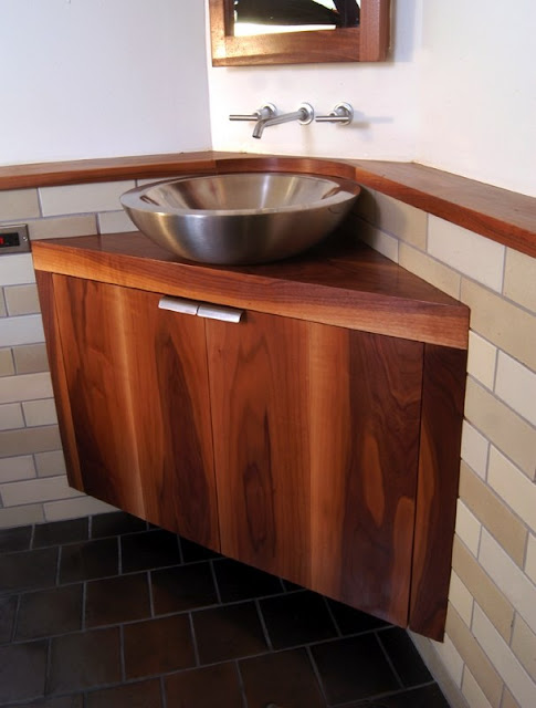 stainless steel bowl corner sink design for bathroom with wooden cabinet