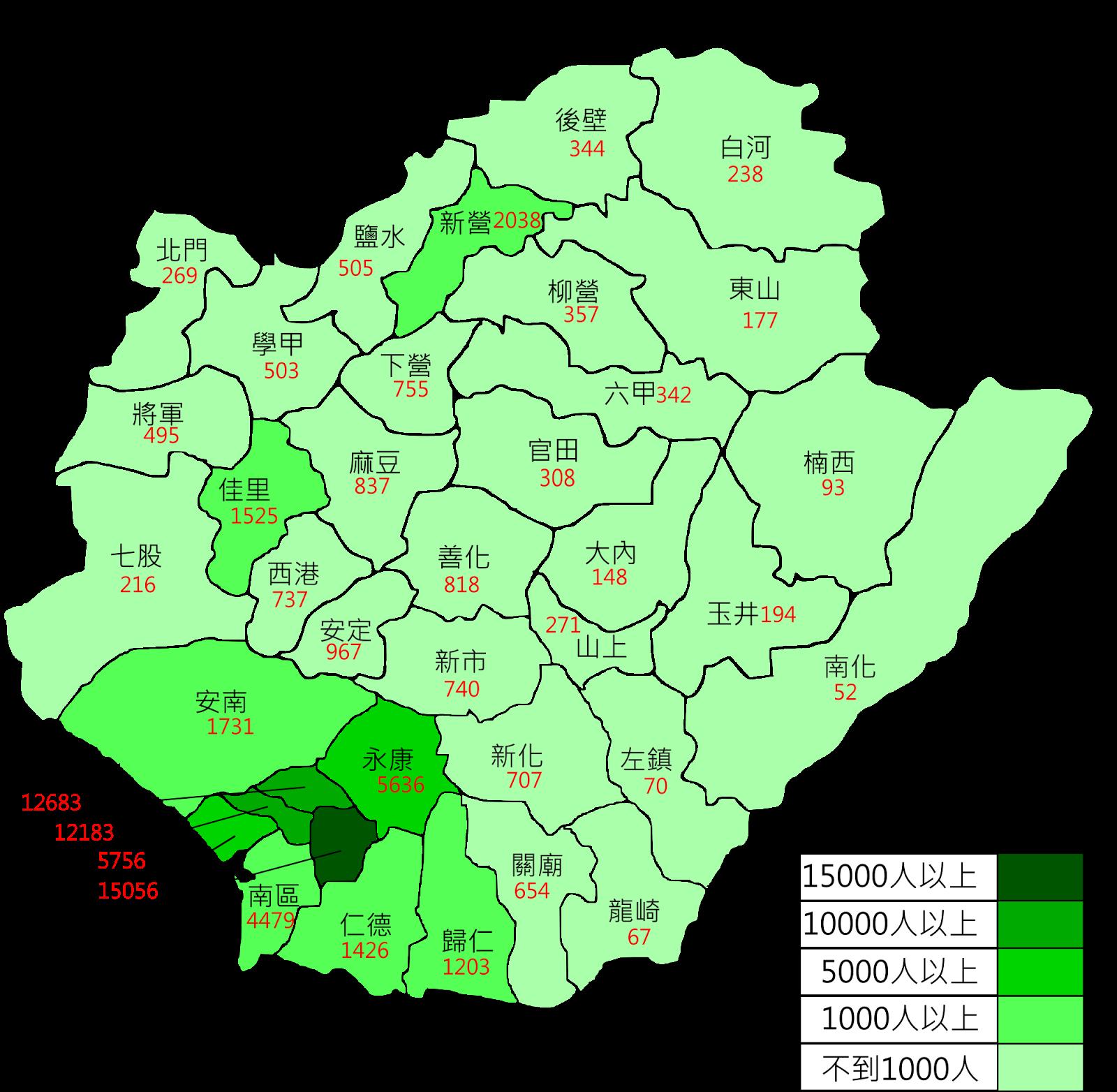 天來的工作坊: [分享]手繪圖_臺南市各區人口密度圖_201401