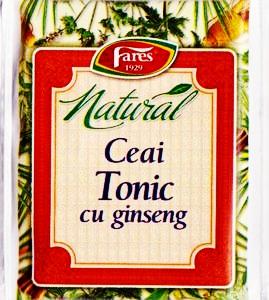 Imaginea cutiei de ceai natural cu ginseng, care te tonifica pe timpul zilei, fara cofeina. Click pentru cumparare !