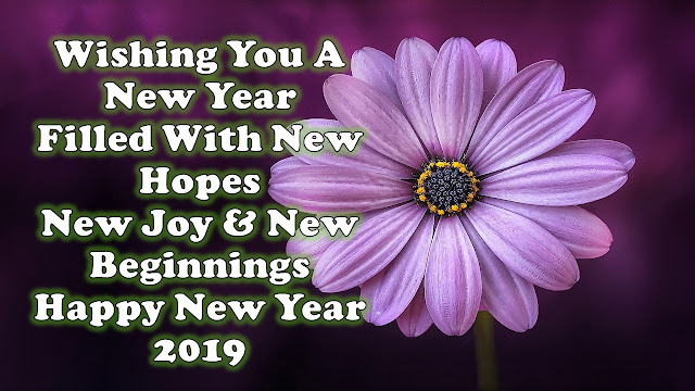 Happy New Year 2019 Flowers image and quote in avdance