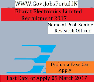 Bharat Electronics Limited Recruitment 2017-Senior Research Officer