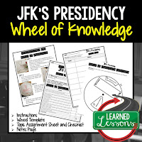 JFK,  Progressive Era, American History Activity, American History Interactive Notebook, American History Wheel of Knowledge