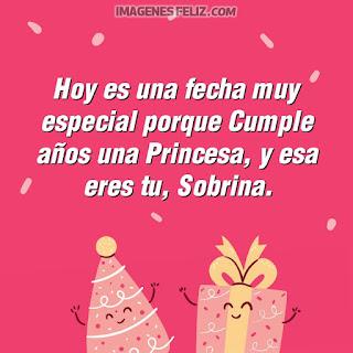 Imágenes feliz cumpleaños sobrina. Tarjetas con dibujos lindos de regalos y frases bellas. Todo en colores rosa
