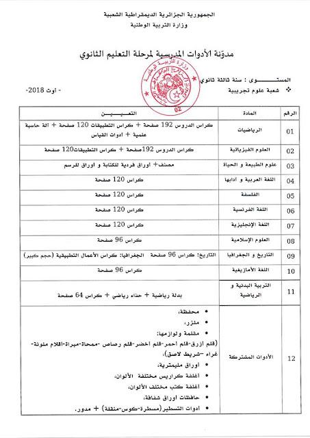 قائمة الادوات المدرسية للسنة الثالثة ثانوي شعبة علوم تجريبية