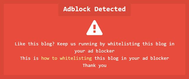 Notifikasi Adblocker Adsense