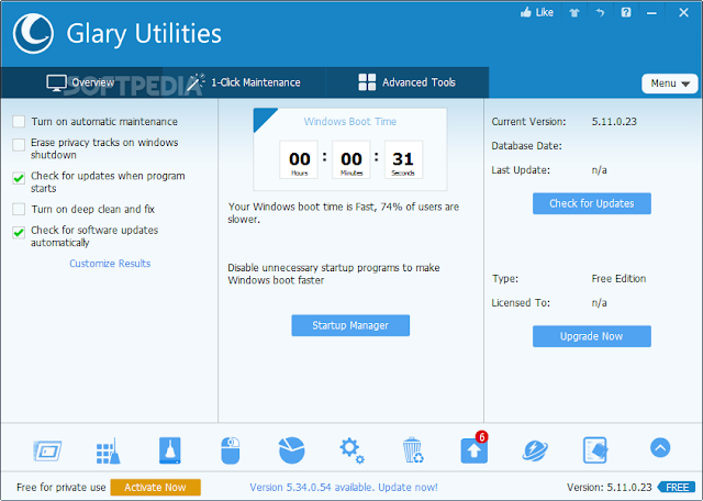 تحميل برنامج صيانة الكمبيوتر وتسريع النظام مجانا نسخة محمولة Portable Glary Utilities 5.47