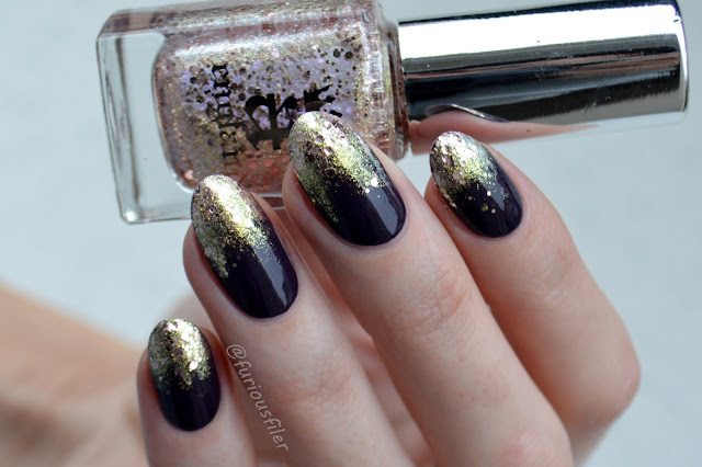 glitter tips drips glitter bomb purple rose nails
