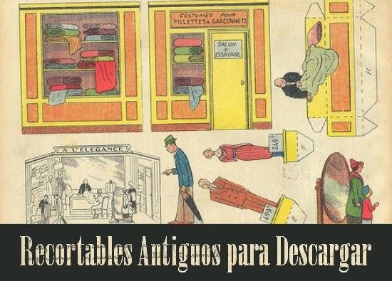 recortables, papel, origami, manualidades, vintage, ilustraciones