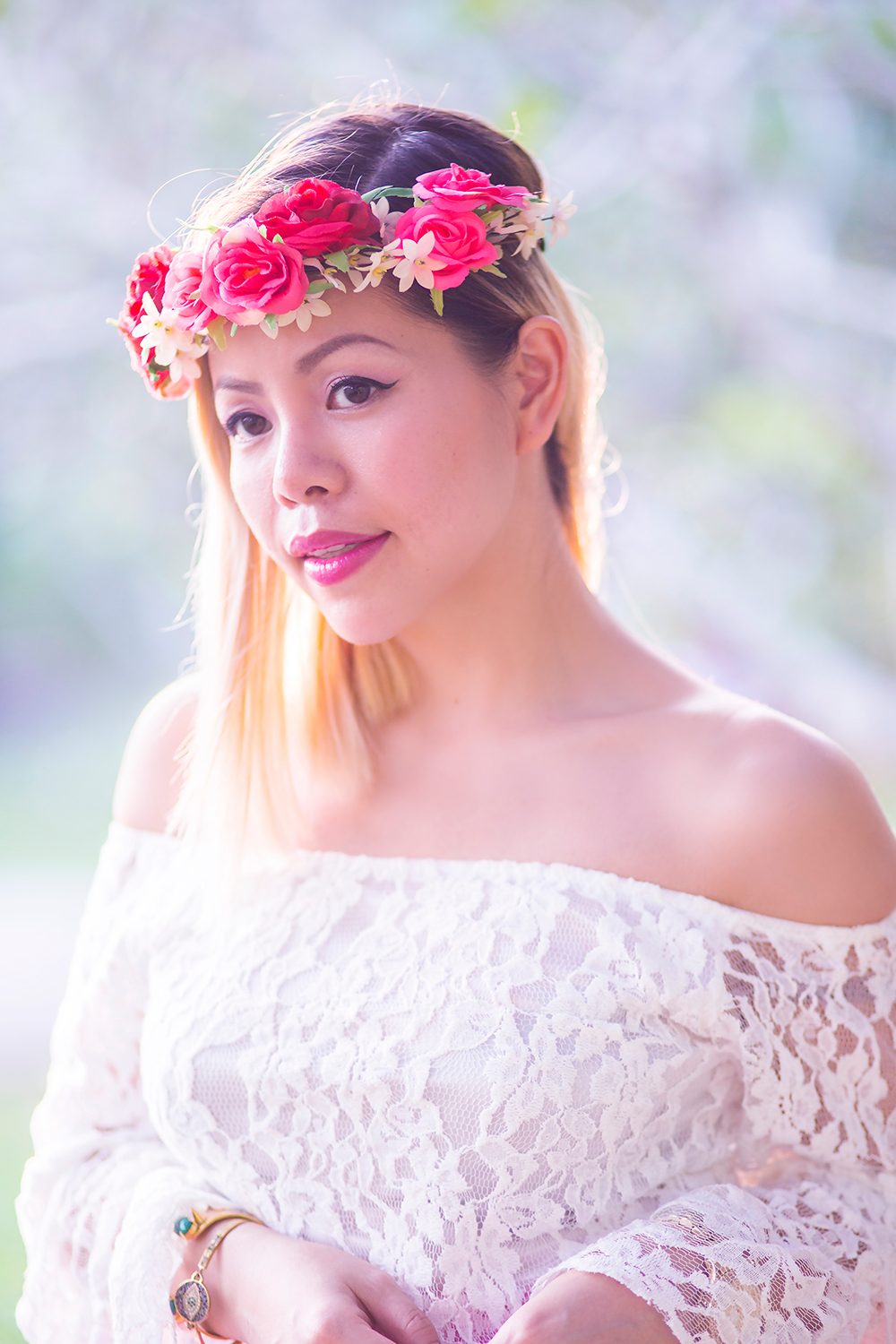 Crystal Phuong- Singapore Fashion Blog- Dreamy in floral crown and off-shoulder lace top