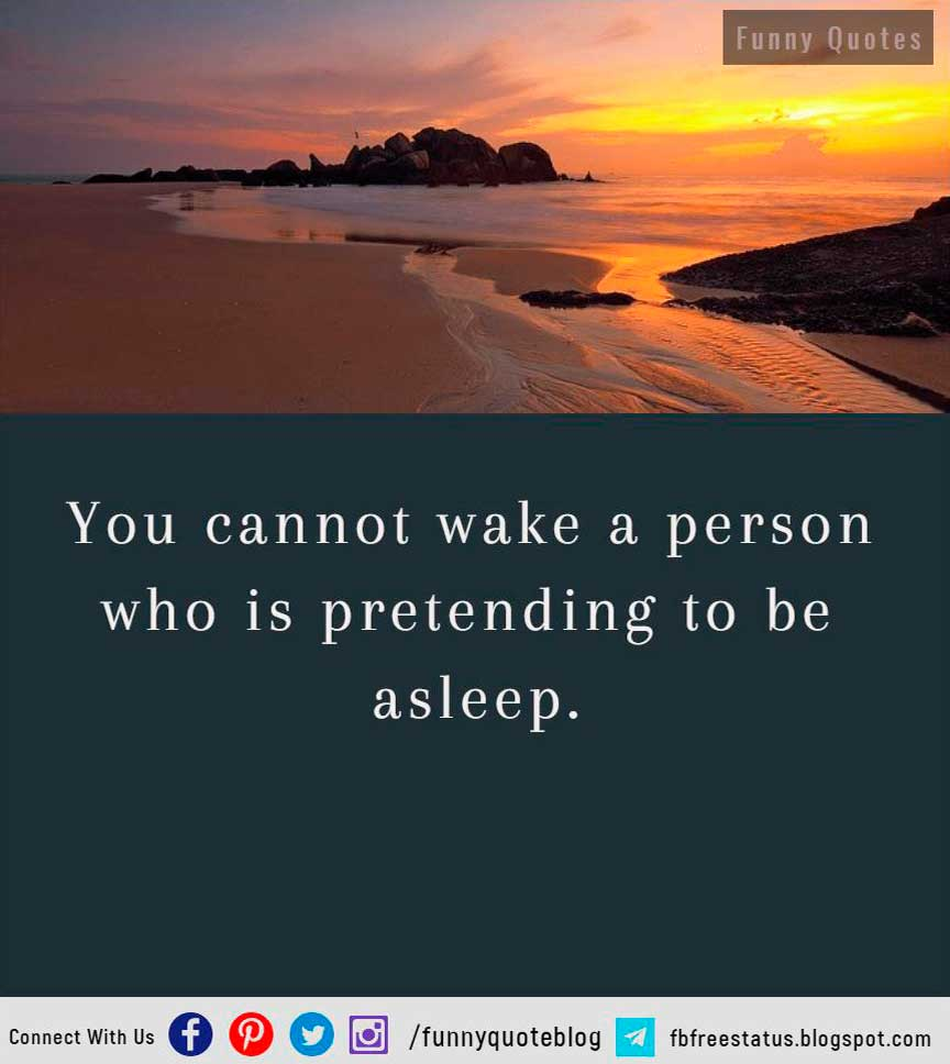 You cannot wake a person who is pretending to be asleep.