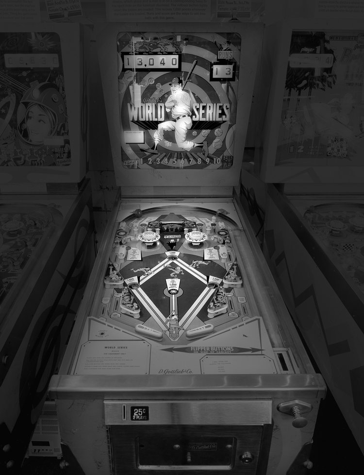 11-Baseball-World-Series-Michael-Massaia-Black-and-White-Photographs-Funfair-and-Pinball-Machine-www-designstack-co