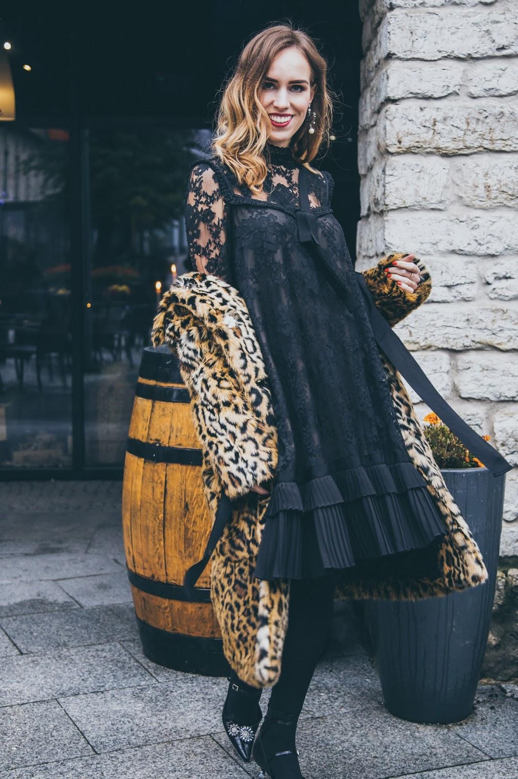 erdem x hm collaboration collection black lace dress leopard coat outfit
