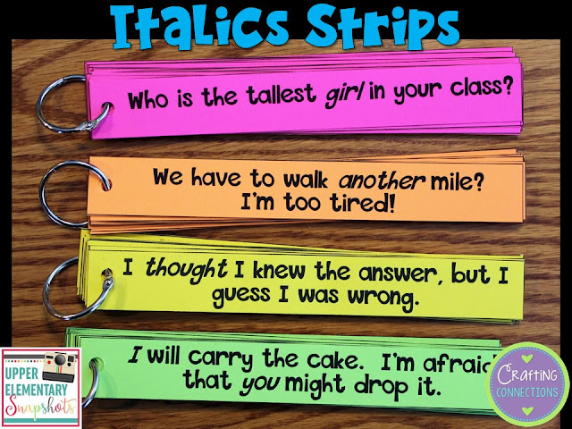 Do your students understand the importance of italics in reading? These italics strips will provide students with many opportunities to interact withto interact with italicized words.