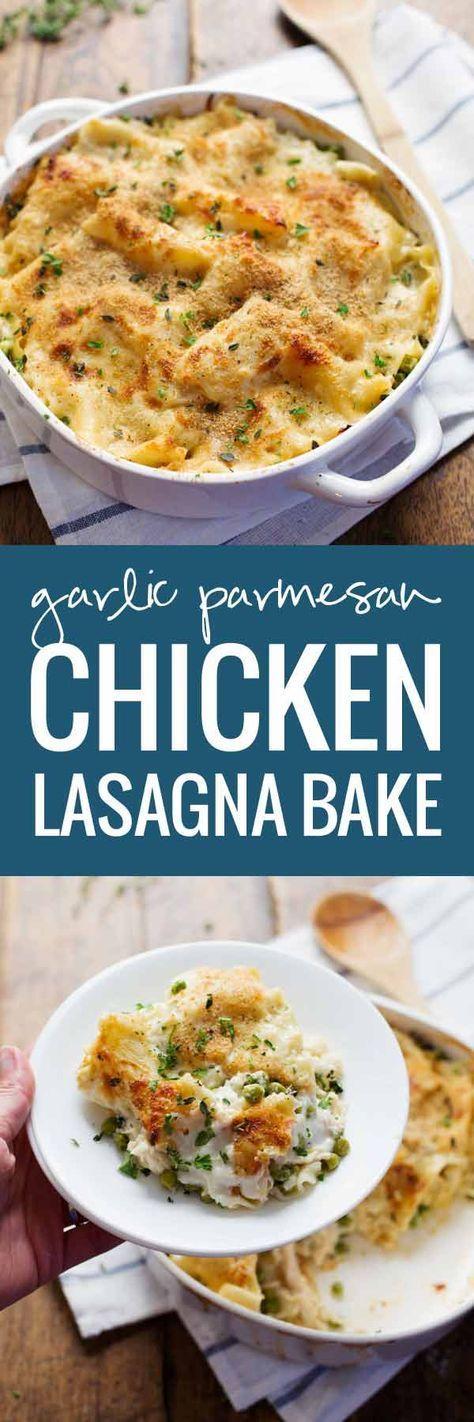 Garlic Parmesan Chicken Lasagna Bake