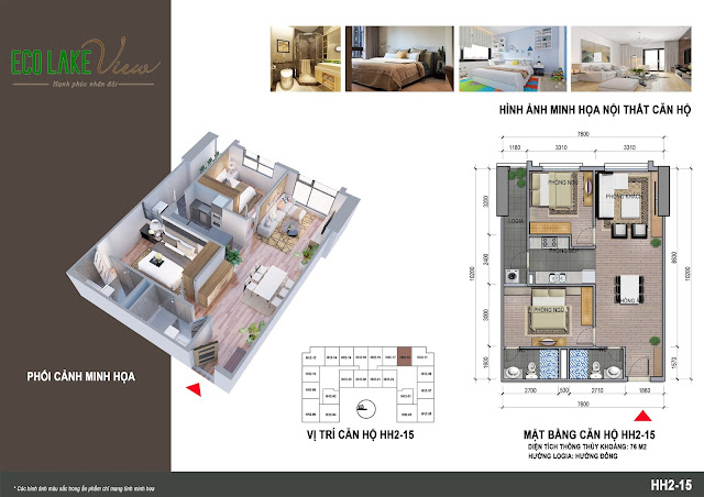 Căn hộ 15, diện tích 76m2 - 2 phòng ngủ