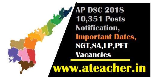 AP DSC 2018 10,351 Posts Notification,Important Dates SGT,SA,LP,PET Vacancies