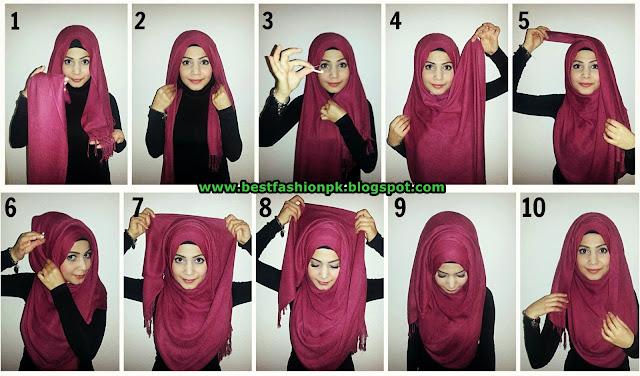 Modern And Beautiful Hijab Styles Tutorial www.bestfashionpk.blogspot.com