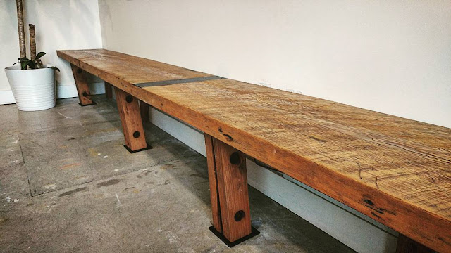 reclaimed wood bench for a Gastown office