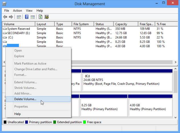 Menghapus Sistem Operasi Dual Boot di Windows - delete volume