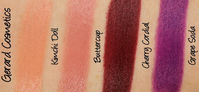 Gerard Cosmetics Lipsticks - Kimchi Doll, Buttercup, Cherry Cordial and Grape Soda Swatches & Review