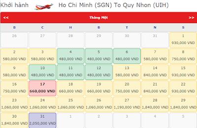 Giá Vé máy bay đi Quy Nhơn hãng Vietjet Air