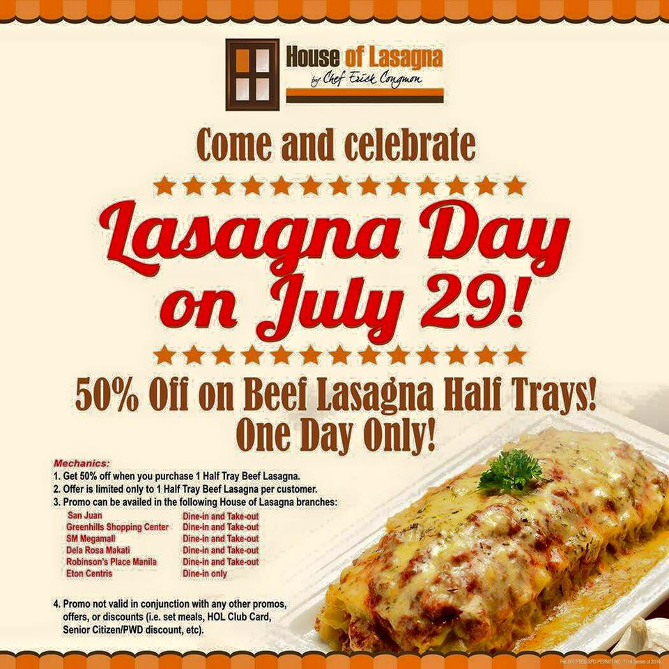 Manila shopper lasagna day at house of lasagna july 29 2016 lasagna day at house of lasagna july 29 2016 altavistaventures Choice Image