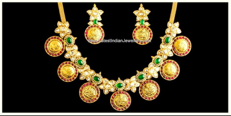 polki diamond lakshmi kasu necklace