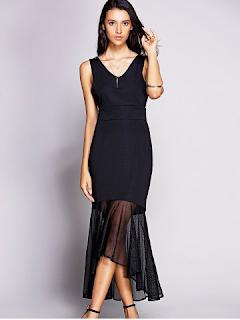 Backless Mesh Insert Long Mermaid Prom Dress - Black