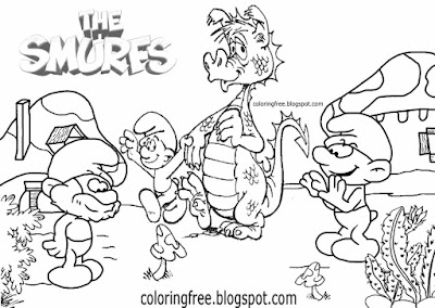Fantasy mushroom Smurf village scenery dragon coloring Smurfs drawing ideas for teens easy pictures