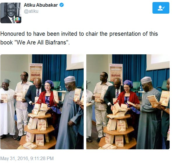 "Atiku Abubakar throws support behind Biafran secession at book launch of ""We Are Biafran"""