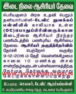 Walk in Interview for Primary Teacher Post (PRT) in David Primary School Vadakarai Periyakulam Theni (Govt Aided)