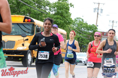 Tanya Senanayake running hills at Vermont City Marathon
