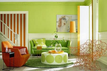 Salas en naranja y verde colores en casa for Colores para decorar una casa