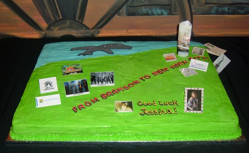 This Is A Going Away Cake For Jessica Who Headed NYC 24x18 To Serve 100 White With Bavarian Cream And Strawberrys Filling