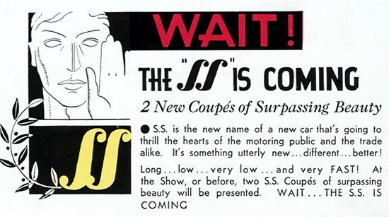 S.S. 1 car announcement 1931