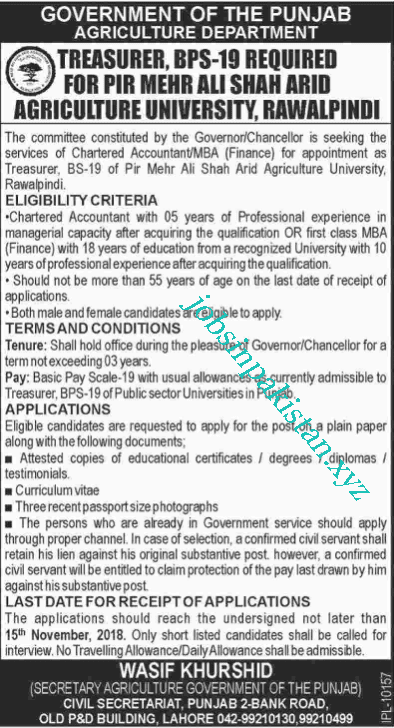 Advertisement for Agriculture Department Punjab Jobs 2018