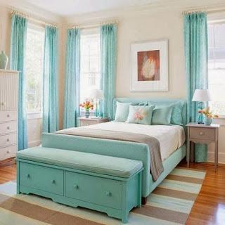 Dormitorio juvenil turquesa