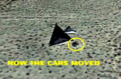The Black triangle TR3b from various different angles and the car.