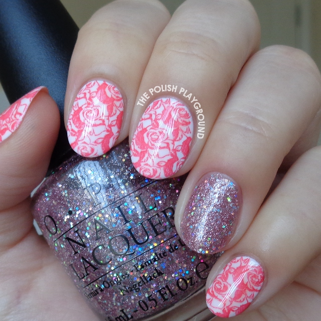 Romantic Roses Stamping with Pink Glitter Accent Nail Art