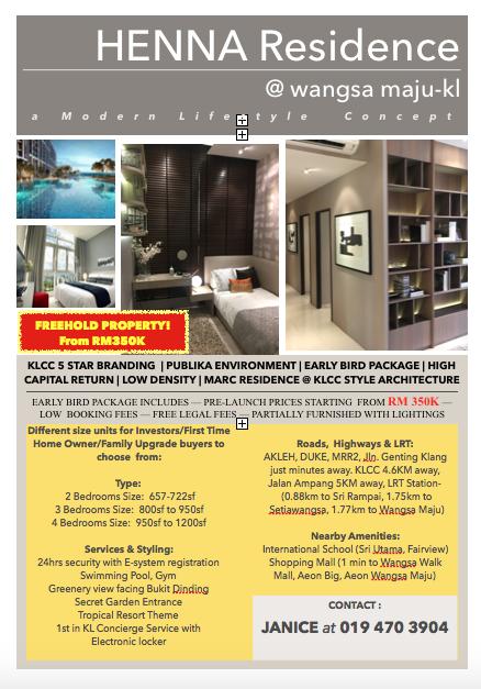 Janice Property Consultants Henna Residence Rm 350k Wangsa Maju