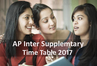 AP Inter Supplementary Time Table 2017, Inter 1st year, 2nd year Supply Exam Date 2017