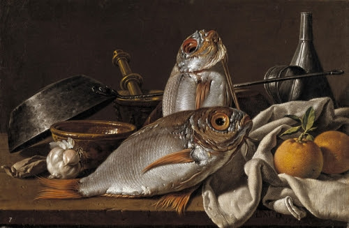 Luis Meléndez, Natura morta con Orata, arance, aglio,condimenti, ed utensili da cucinaMadrid, Museo Nazionale del Prado