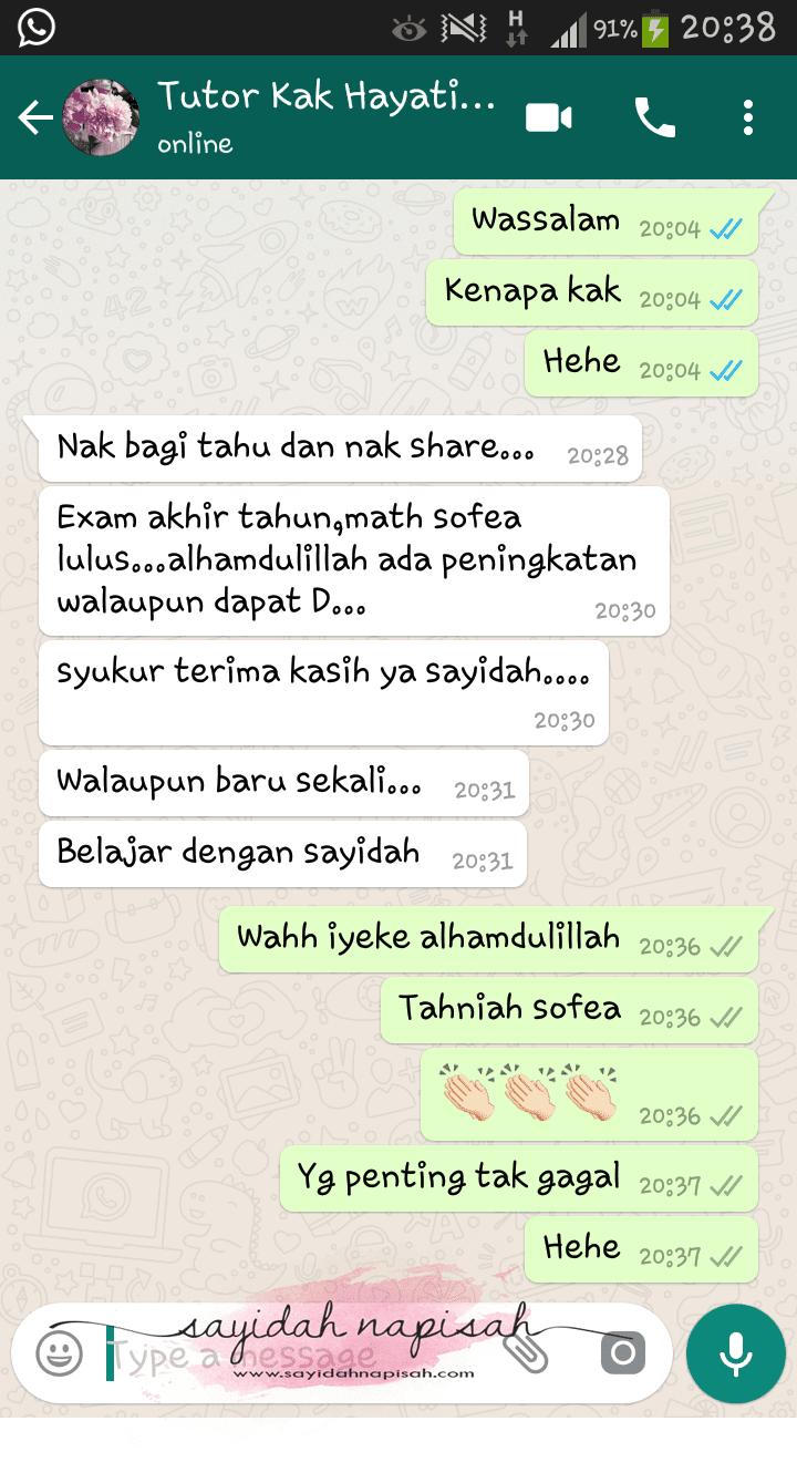 pada suatu malam, mak kepada student tutor saya whatsapp.. berdebar rasa
