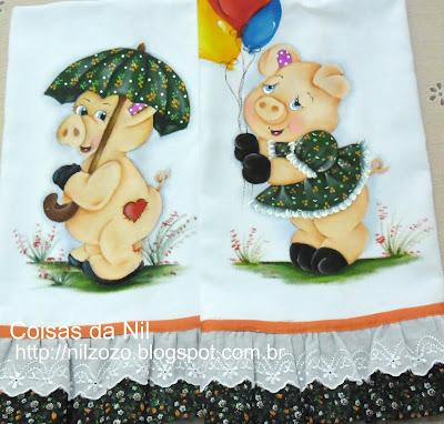 panos de copa com pintura de porquinhos