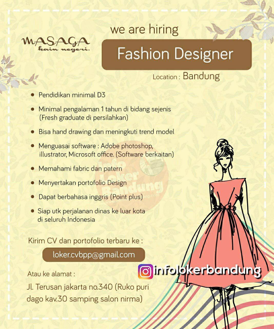Lowongan Ker9ja Fasihon Designer Masaga Bandung Januari 2019