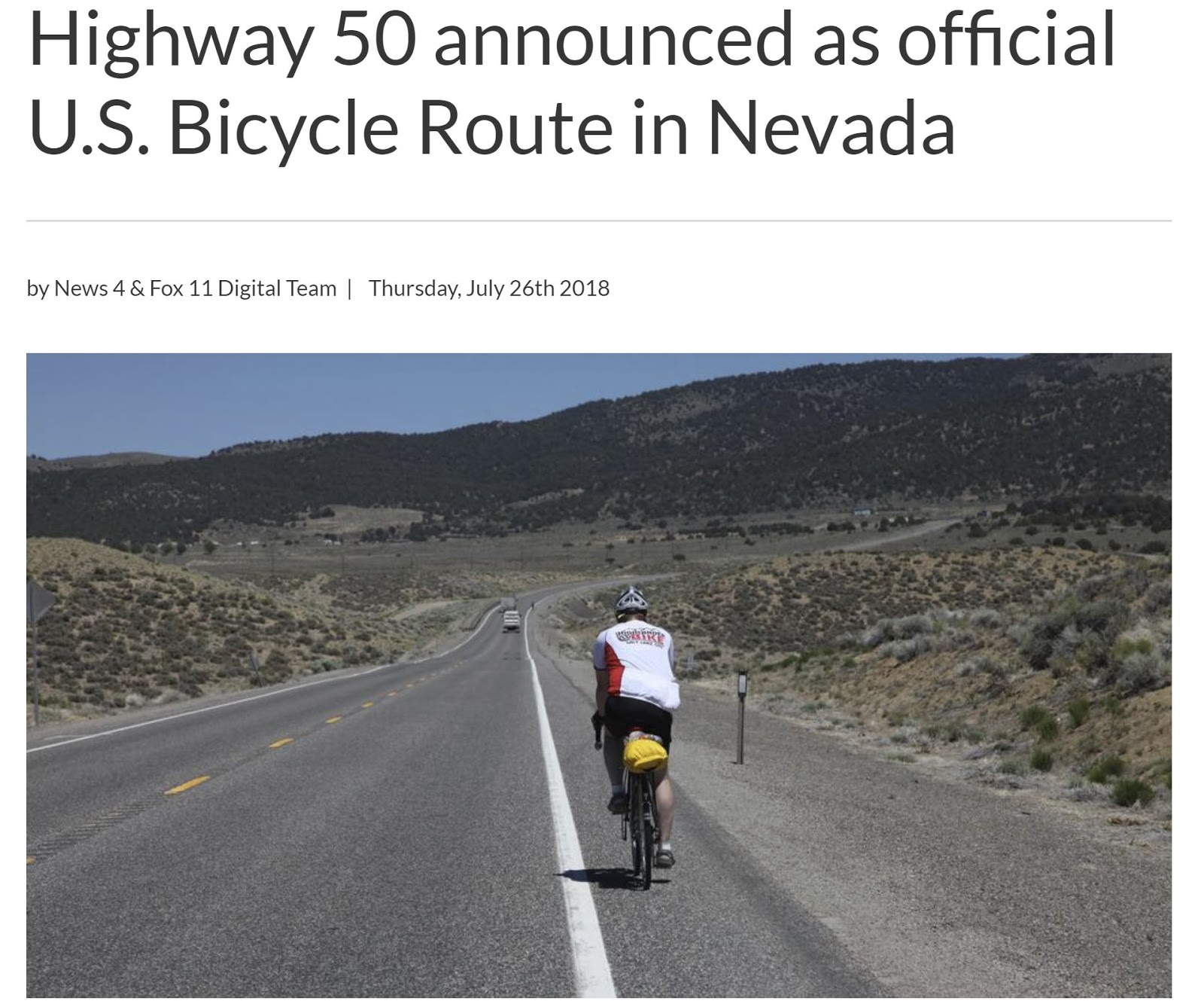nevada s first officail us bicycle route
