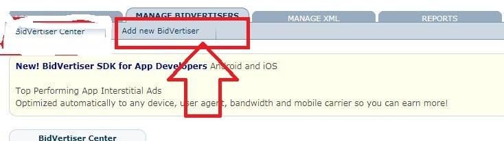 click on the add new bidvertiser