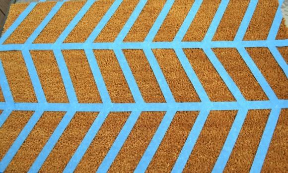 Herringbone painter's tape pattern